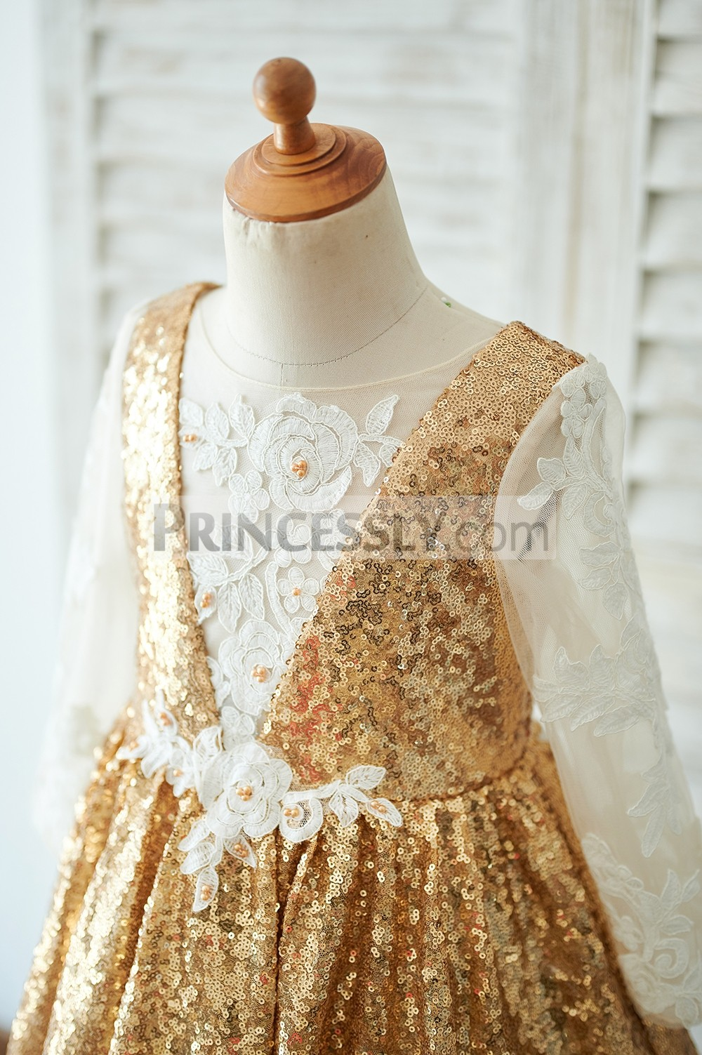 Illusion long sleeves gold sequined bodice with illusion chest