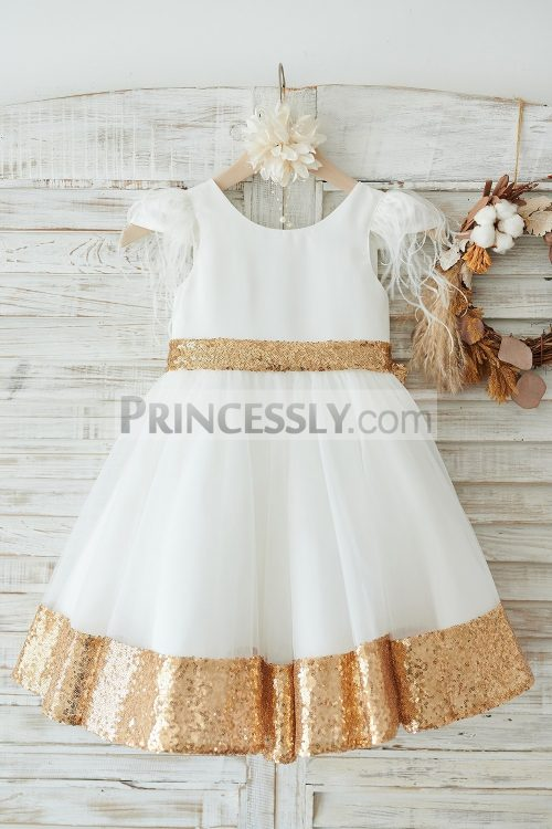 Princessly.com-K1003909-Ivory-Satin-Tulle-Gold-Sequin-Cap-Sleeves-Flower-Girl-Dress-with-Feather-31 (1)