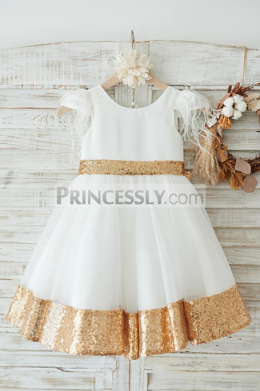 Ivory satin tulle flower girl dress