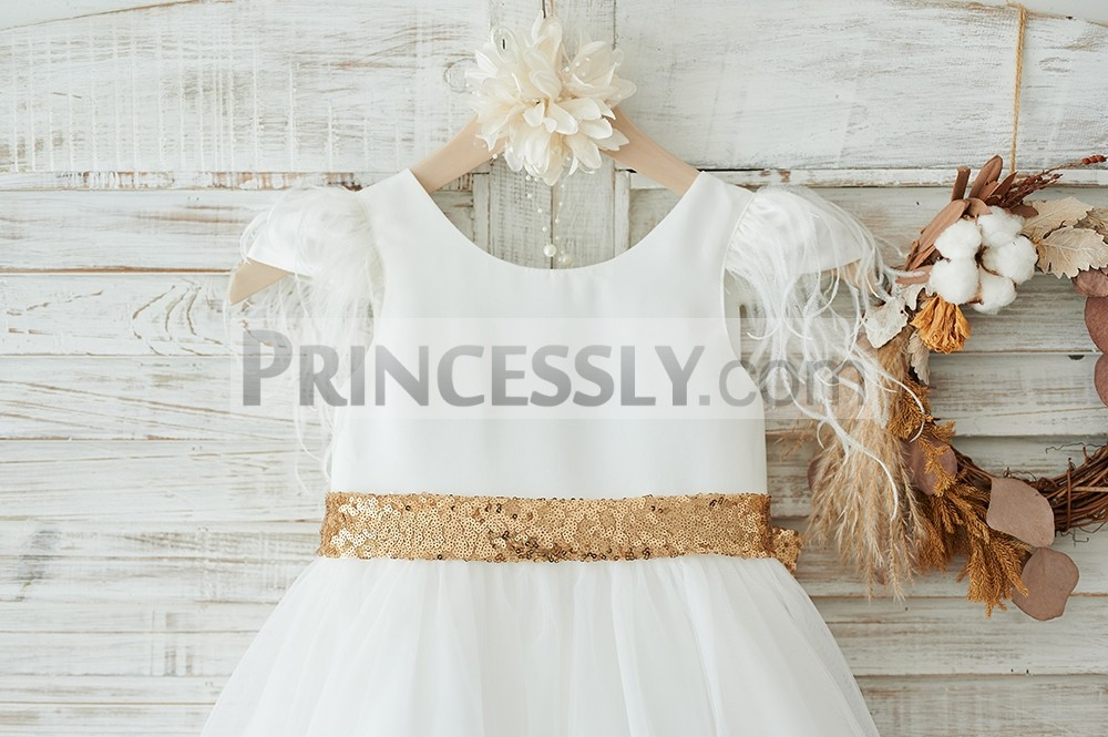 Scoop neck ivory satin bodice in cap sleeves with feathers