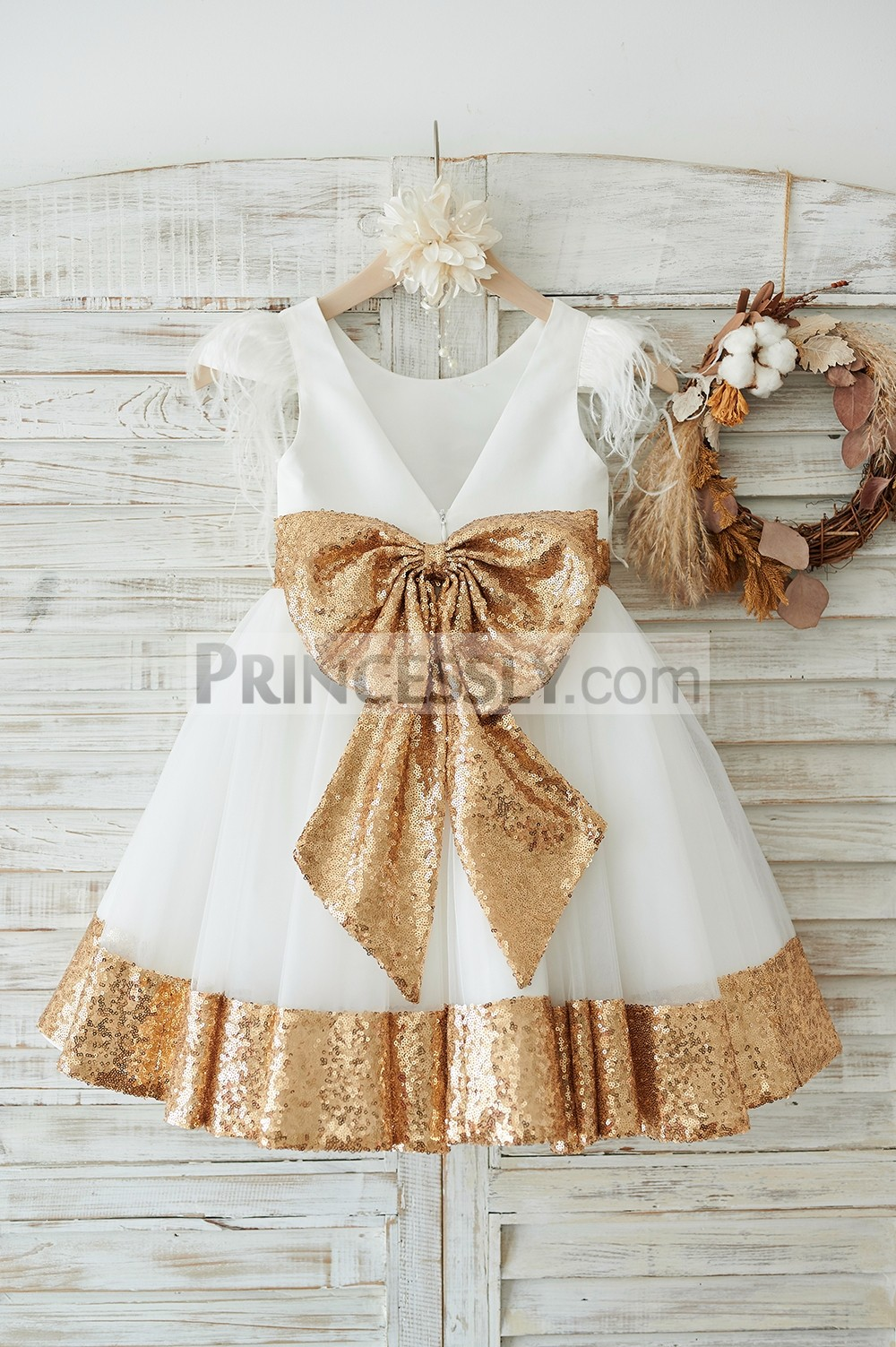 Deep V back ivory wedding baby girl dress with gold sequined belt