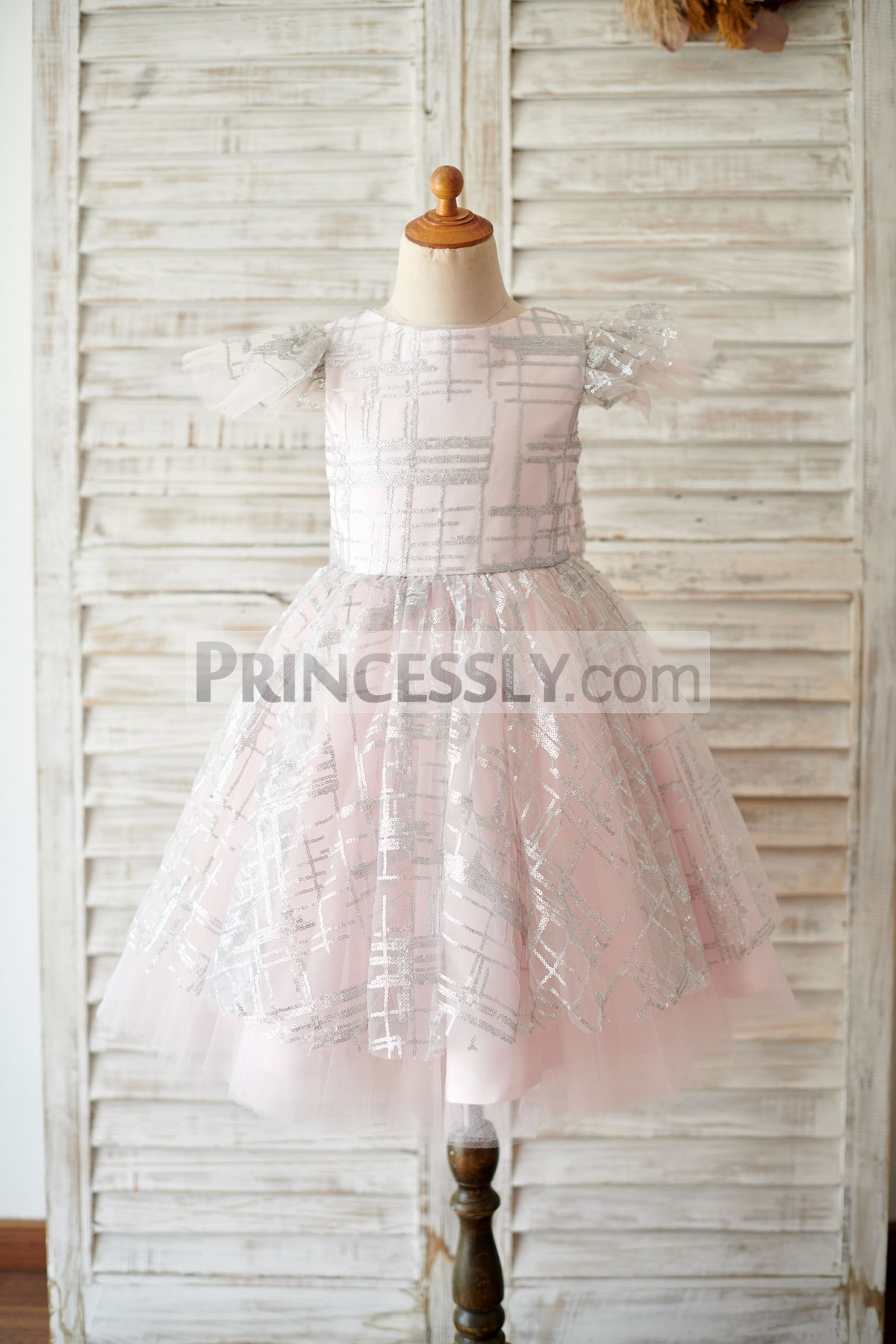 Silver sequins pink tulle flower girl dress