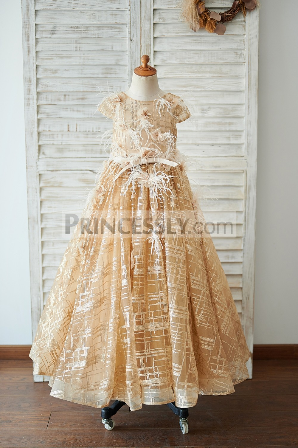 Cap sleeves gold sequins long flower girl dress