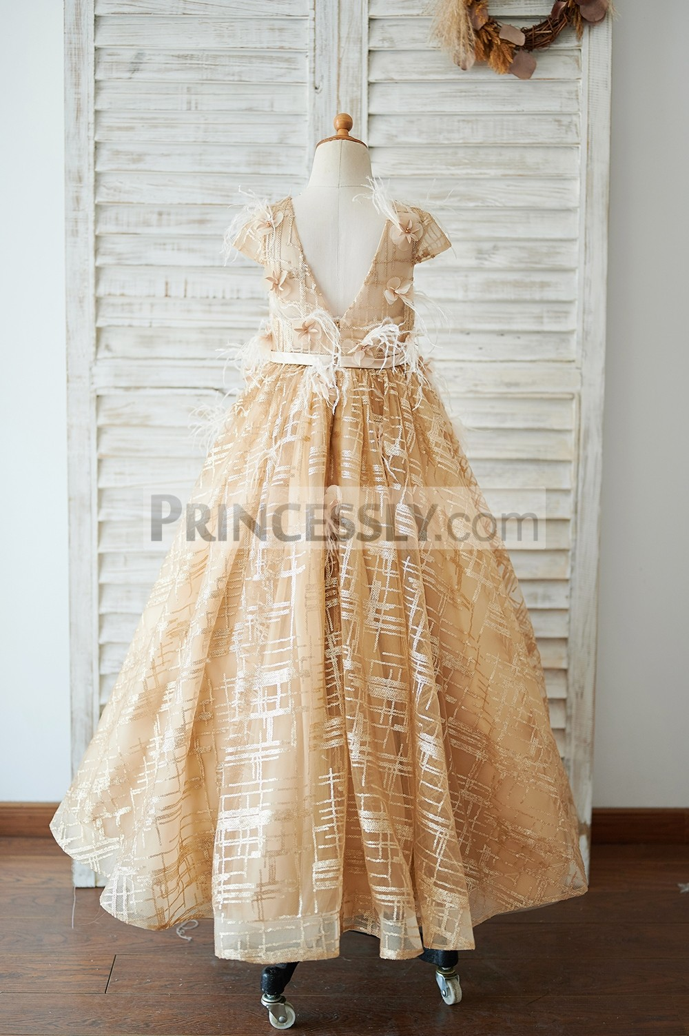 Deep V back gold sequins wedding baby girl dress