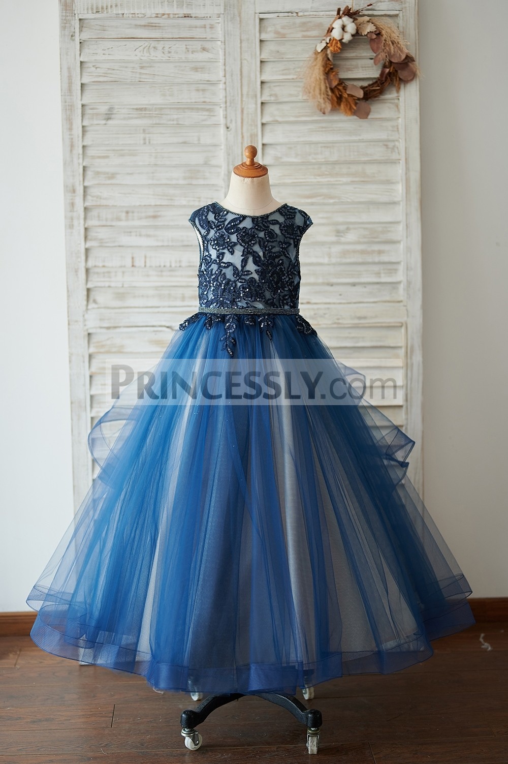 Beaded navy blue lace appliques tulle flower girl dress