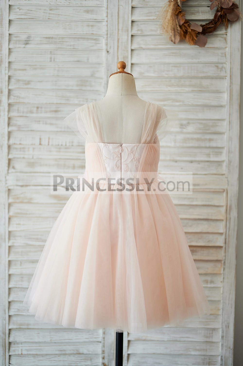 Backless tulle pink wedding baby girl dress