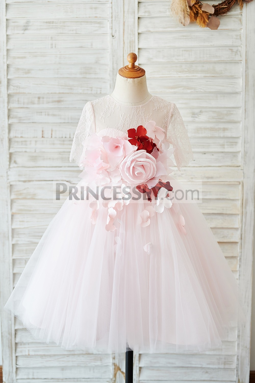 Pink lace tulle flower girl dress