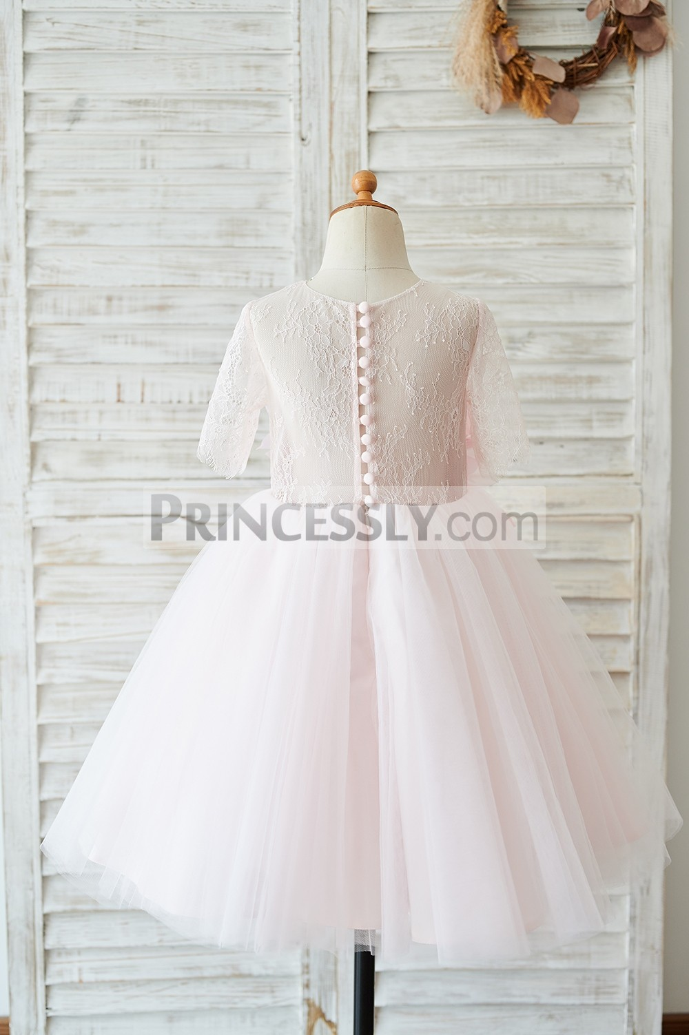 Sheer back lace tulle pink wedding baby girl dress