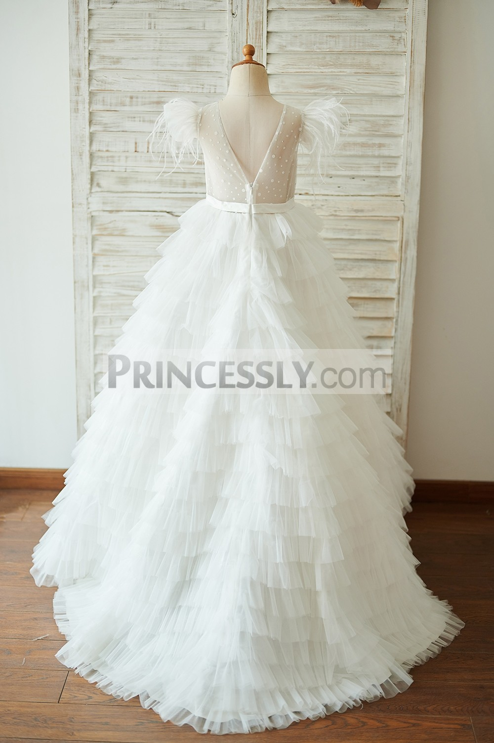 Dot tulle V back ivory tulle cupcake wedding baby girl dress
