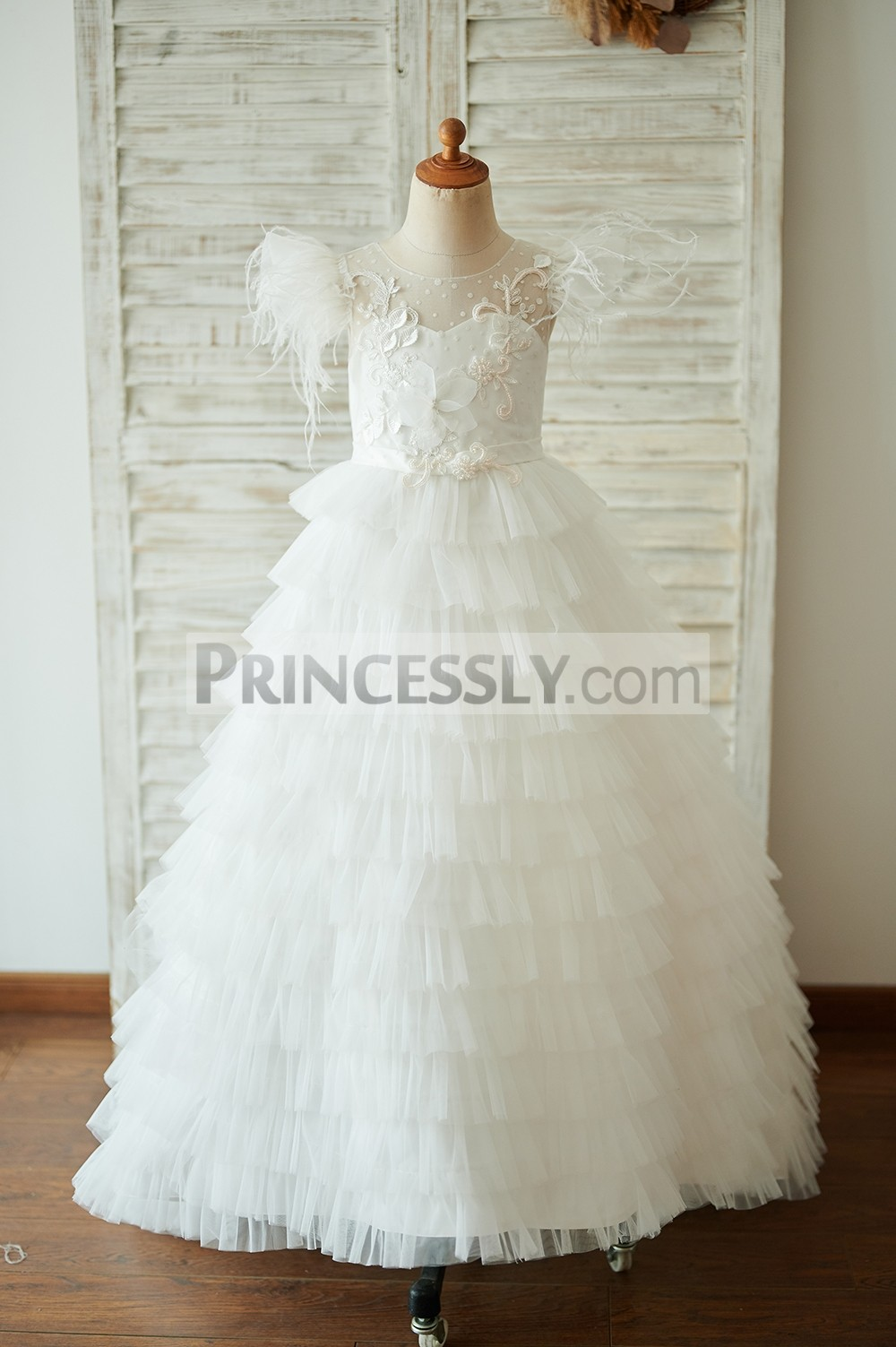 Dot tulle inside sweetheart cupcake long flower girl dress