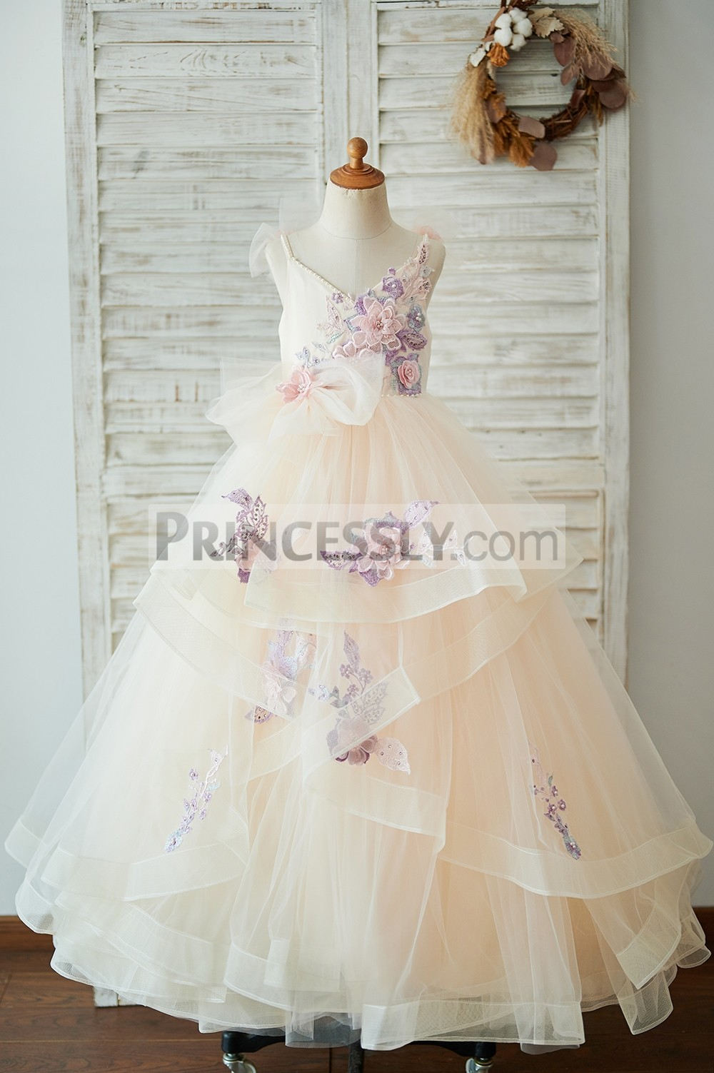 V neck champagne satin tulle horsehair flower girl dress