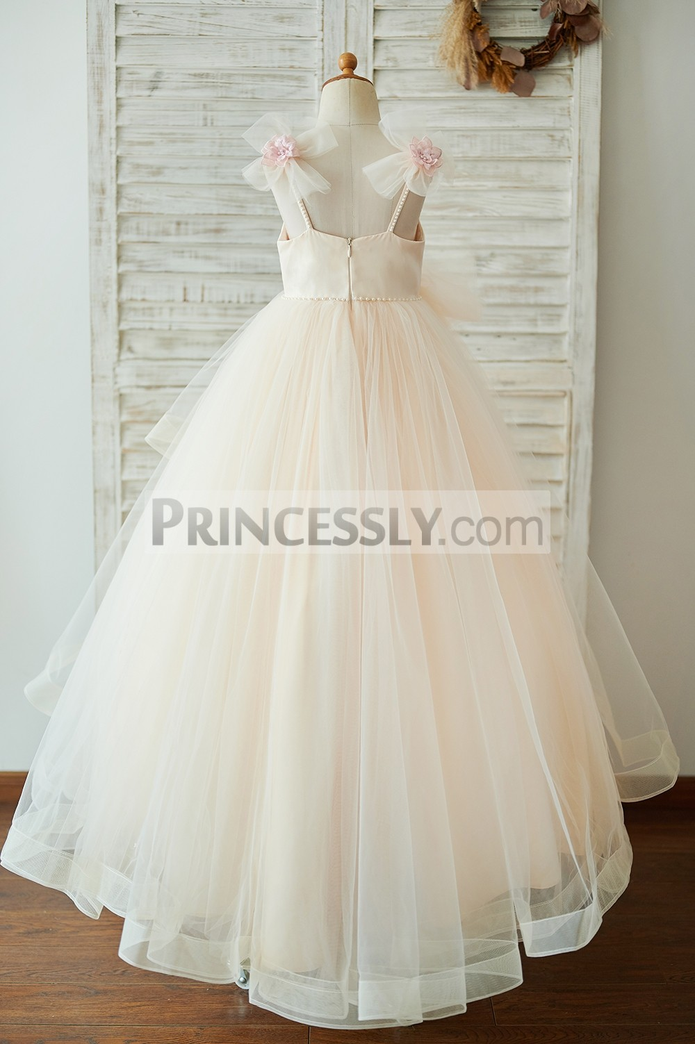 Pearled V neckline, straps champagne tulle long wedding baby girl dress
