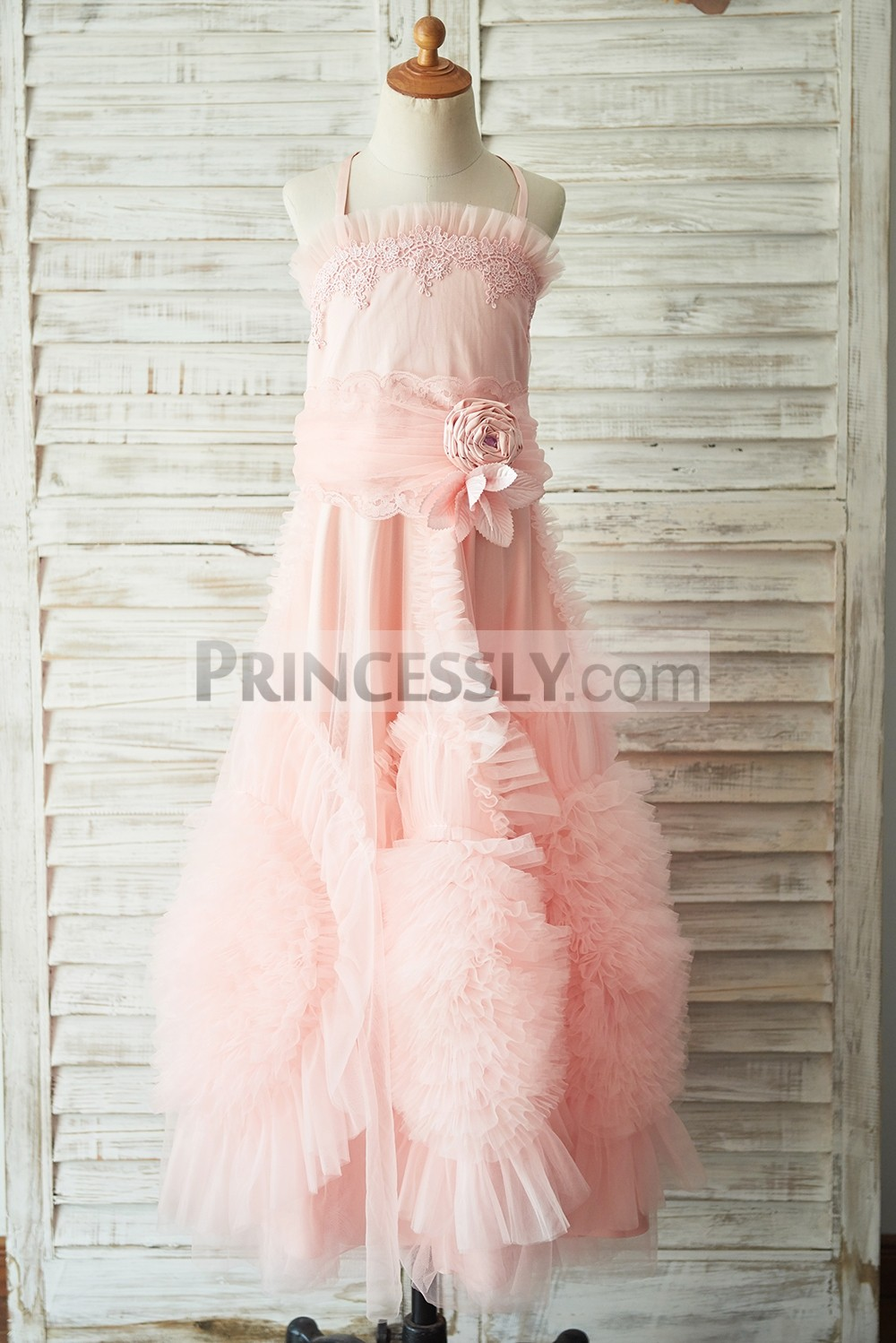 Spaghetti straps pink satin tulle flower girl dress