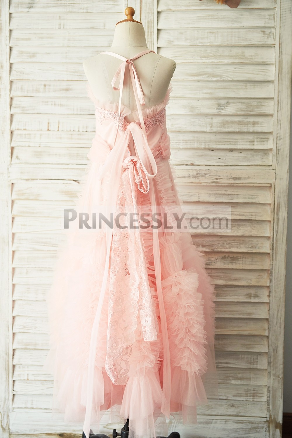 Backless lace up fuzzy ruffles tulle pink wedding baby girl dress
