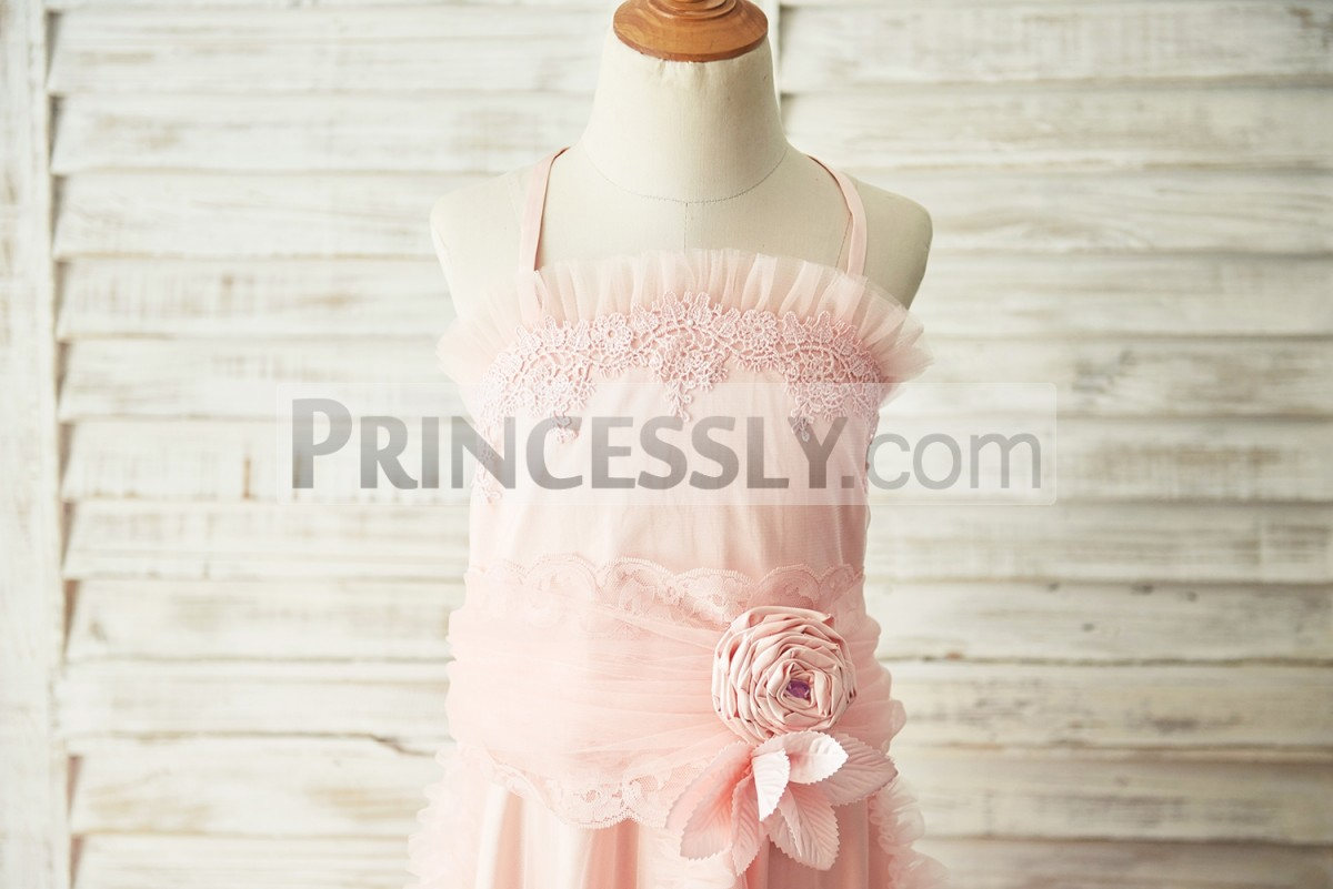 Ruffles tulle neckline pink satin bodice with lace applique