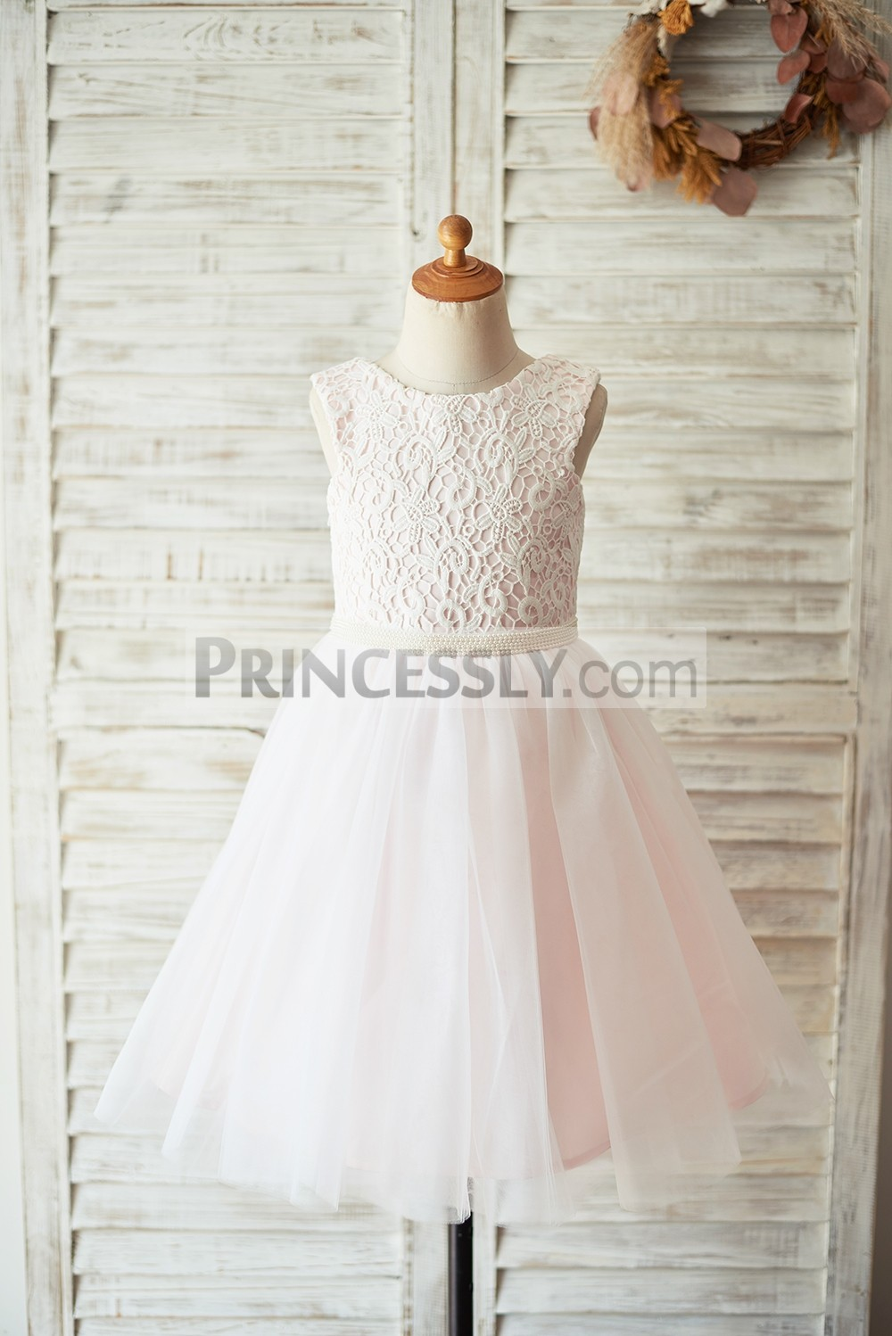 Ivory lace tulle pink lining flower girl dress