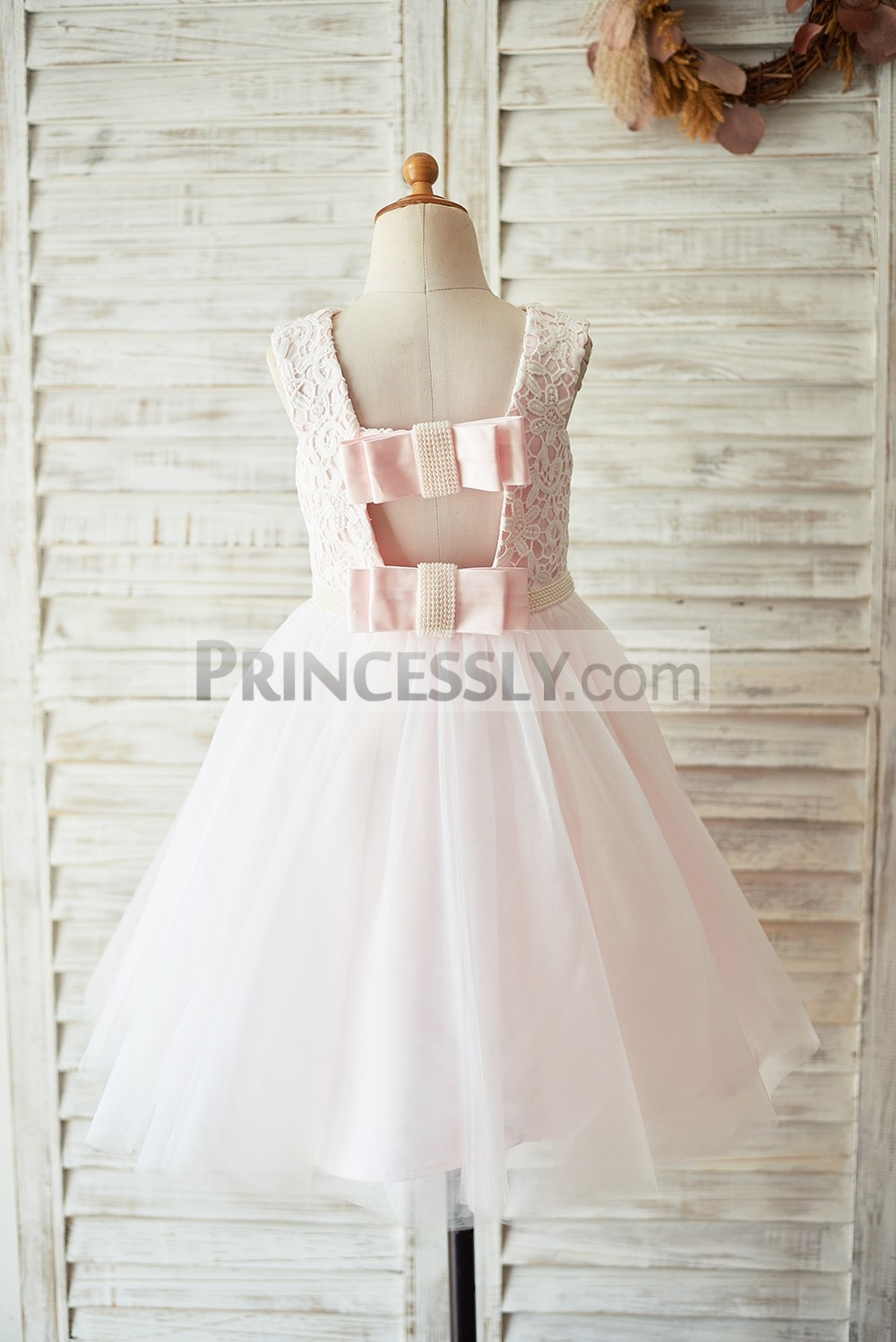 Backless lace tulle wedding baby girl dress