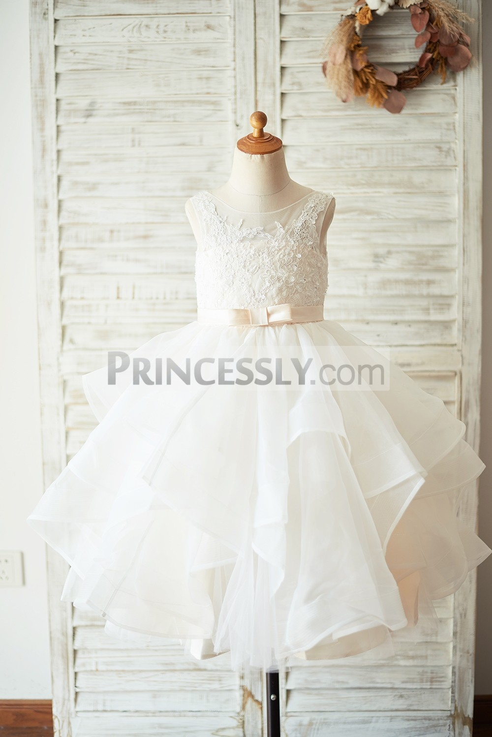 Beaded ivory lace wavy organza skirt flower girl dress