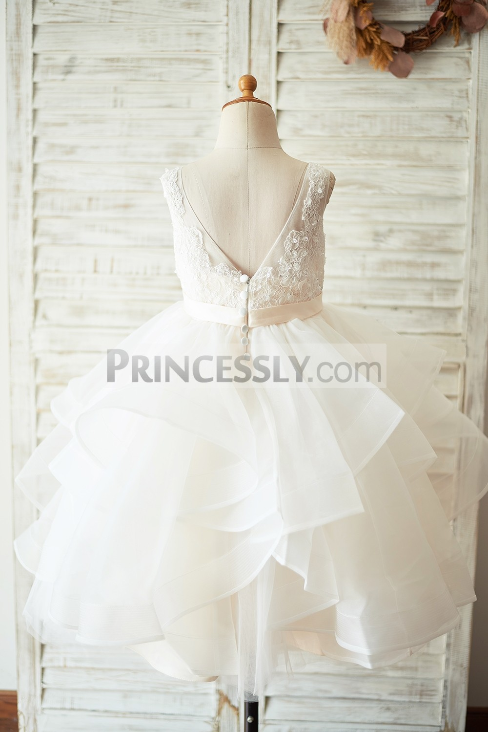 Deep V back big wavy organza skirt wedding baby girl dress